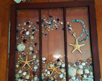 """Garden and Porch Decor Beach Glass, Stained Glass , Gem, Shell and Starfish Ocean Wave Mosaic Panel On Vintage Repurposed Window 23"""" x 27"""""""