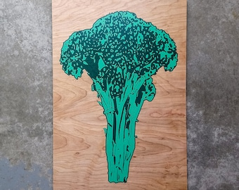 Limited Edition Broccoli Wood Print