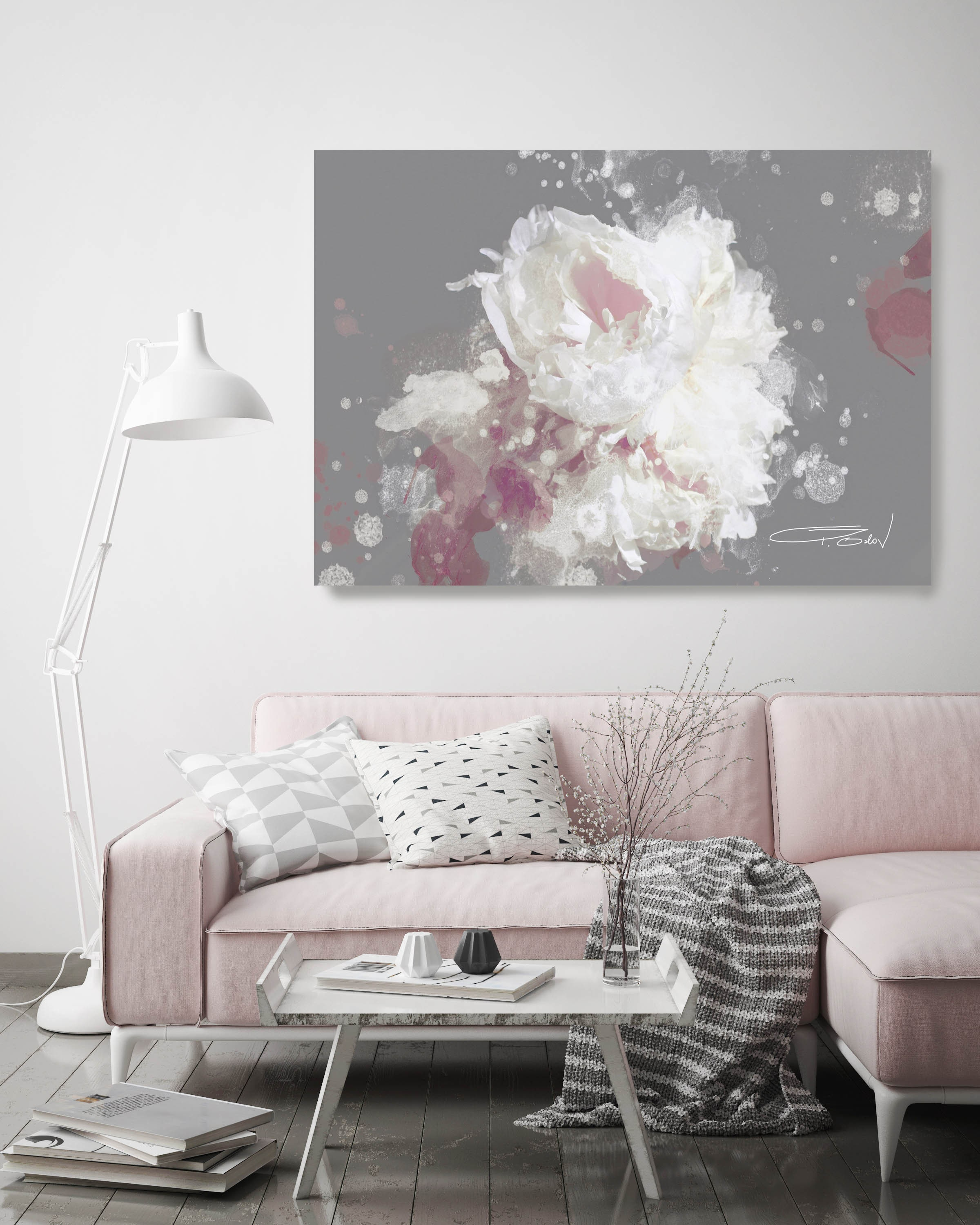 Blow Away on The Wind 5-2 Gray and Mauve. Floral Painting, Abstract ...