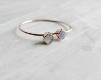 Rose Gold Bangles with Raw MoonStones, Raw Bracelets, Druzy Bracelet