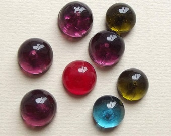 Vintage colourful glass cabochons