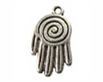 8 Silver Spiral Hand Charm Pendant 25x15mm by TIJC SP0344