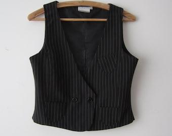 Women's Striped Black Vest Fitted Formal Waistcoat Secretary Elegant Vest Small Size