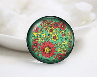 Handmade Round Glass Photo Cabochons Image Glass Cover-Flower (P3062)