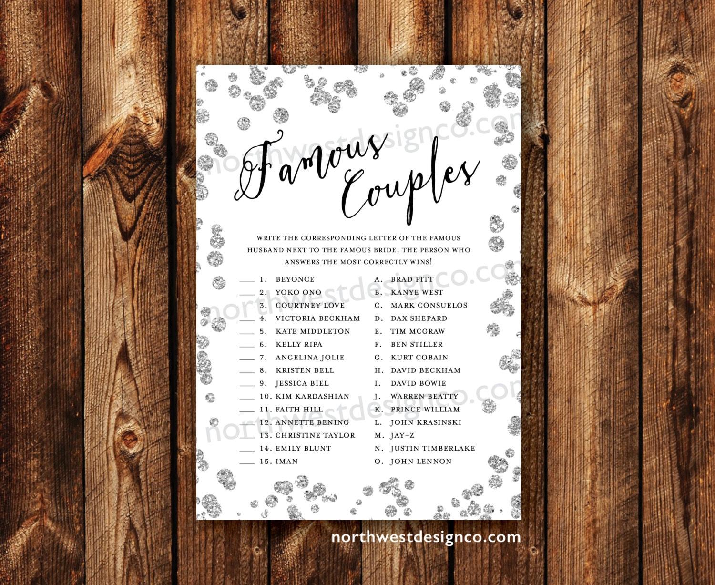 DIGITAL Silver Famous Couples Bridal Shower Game Celebrity