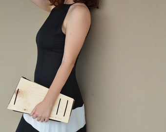 Clutch Purse, Geometric Wooden gift, modern, minimalist, evening bag, 5th wedding Anniversary, gift for architect, gift for fashionlover