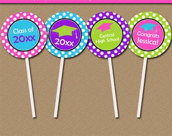 Girl Graduation Download, Pink Graduation Party Decorations, Girls Graduation 2018 Decoration Printables, Editable Party Cupcake Toppers G4
