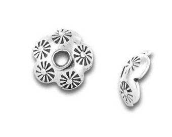 New! TWO Karen Hill Tribe Fine Silver Stamped Flower Bead Caps, 7mm wide x 3mm tall, unique artisan-made beads and supplies