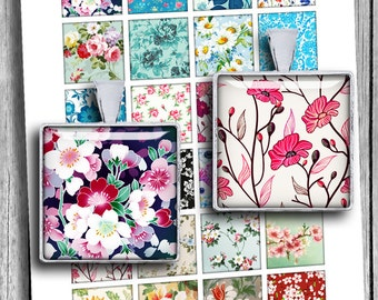 """Spring Flowers 1x1"""" 0.75x0.83"""" 1.5x1.5"""" 16x16 mm Square printable images for Jewelry Scrabble tile images Digital Collage Sheet"""