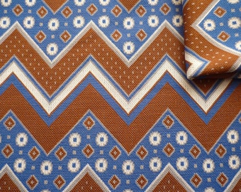 Vintage Fabric 70's Polyester, Brown, Blue, White, Geometric, Printed, Material, Textiles