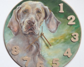 WEIMARANER Dog portrait  PAINTED on the CLOCK face Original Oil painting Hand painted Wall decor Ready to hang Unique gift for Pet lover