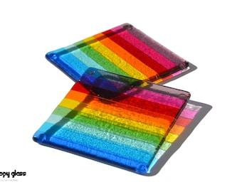 Rainbow Coasters - Fused Glass Coasters - Gift Idea - Rainbow Fused Glass Coasters - Rainbow colours - Gay pride