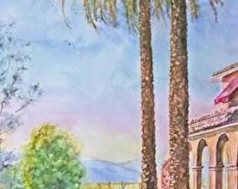 Large original desert watercolor  painting, Southwest landscape watercolor painting, wall decor, home decor, palm tree desert painting