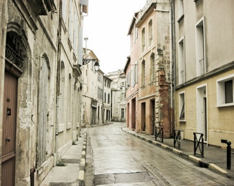 "Provence France photography neutral architecture art french decor cream white gray large wall art  ""La Rue Grise"""