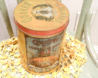 Vintage Quaker Corn Meal Tin/Yellow,Red/Rustic Advertising/1950s
