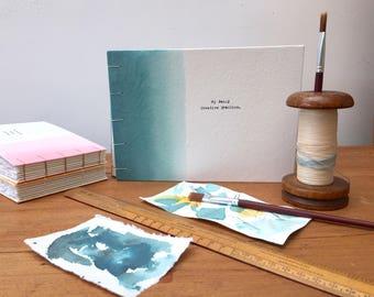 A5 personalised art journal/artists sketchbook, coptic bound journal, sketch book, notebook, note book handbound book, eco friendly