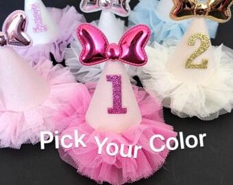 Minnie Birthday Hat,hot pink minnie hat,baby girl birthday hat,Small Party Hat,photo prop,baby shower gift,minnie bow hat,1st birthday,mini