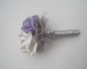 Ivory and Lavender with Silver Grey Satin Boutonniere Groom Groomsmen Usher Father of the Bride Prom With Rhinestone Accent..Custom