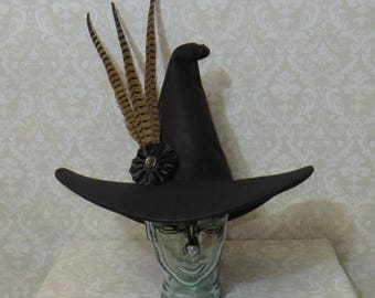 Professor McGonagall Witch Hat- Black Felt Hat with Pheasant Feathers