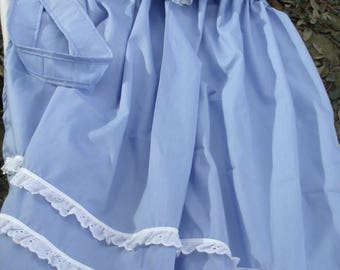 Apron and Mob Cap with Eyelet Trim