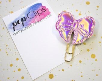 Planner Clip - Planner Bookmark - Rose Gold Holographic Bow Planner Planner clip - Bow clip- Felt Planner Clip - Feltie clip - Holo Bow
