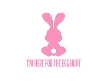 I'm Here for the Egg Hunt Easter Iron On for Boys Girls Rabbit Egg Hunt Spring Iron On Decal Vinyl for Shirt 140