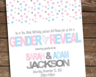 Gender Reveal Party Invitation - Pink and Blue