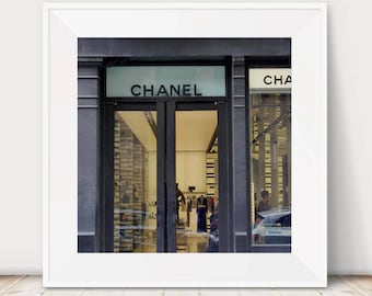 Chanel wall art photography, 12x12 chanel art print, French Paris fashion wall art, gold black chanel decor, nyc Chanel store shop boutique