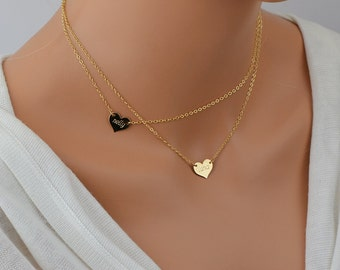 Personalized Heart Necklace, Initial Heart Necklace, Gold Heart, 14k Gold Fill, Personalized Necklace