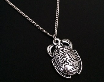 Scarab Necklace, Egyptian Scarab, Egyptian Jewelry, Silver Beetle Necklace, 90s Jewelry, Gothic Jewelry, Scarab Beetle, Hieroglyphic Jewelry