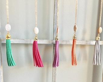 Pebble Tassel Necklace