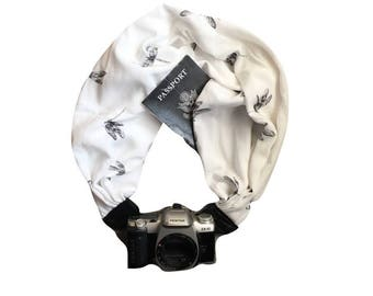 Camera Strap with Lens Pocket -  The Original Camera Scarf Strap With Hidden Pocket - Black and White Dragonflies