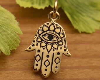 Hamsa Hand with Etched Evil EyeNecklace - Natural Bronze Auspicious Feng Shui Charm - Insurance Included