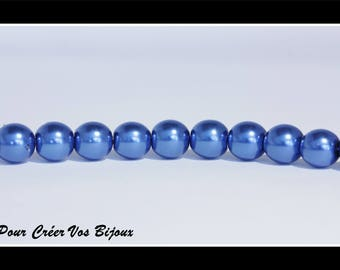 Set of 50 8mm dark blue glass beads