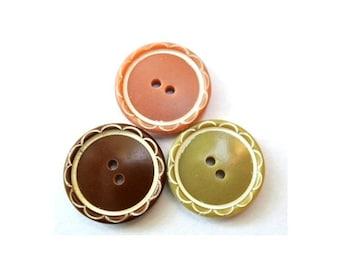 6 Vintage flower buttons in 3 unique colors 20mm, rare buttons-choose color