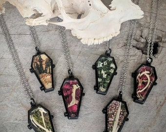 Coffin Necklace - Ossuary - Terrarium - Diarama - Oddities - Curiosities - Casket - Bones - Goth - Witch Jewelry - Macabre - Handmade