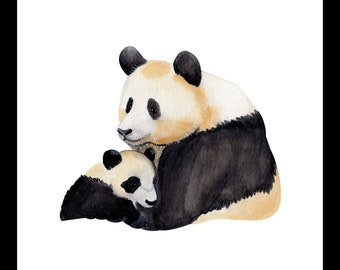 Panda family print for nursery, kids room