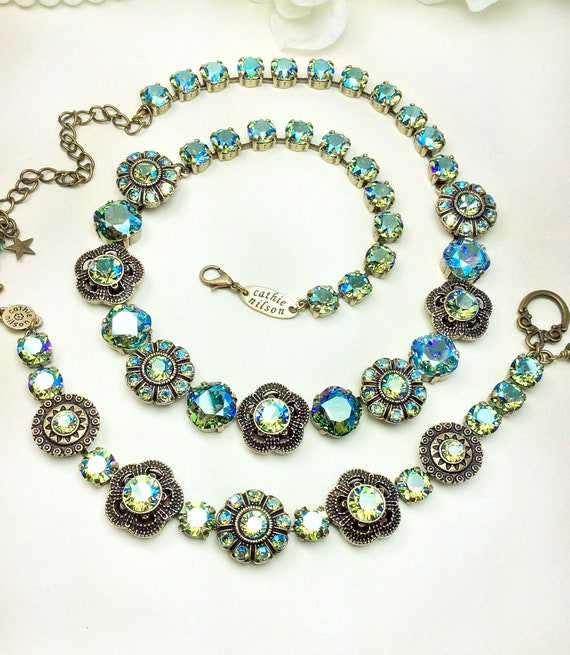 "Swarovski Crystal Necklace - Smashing "" Byzantine Beauty "" Designer Inspired -Erinite SHIMMER Crystals - FREE SHIPPING"