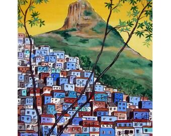 Blue Favela Rio de Janeiro Brazil Corcovado Christ the reedemer, Original artist print Wall Art, Free Shipping in USA