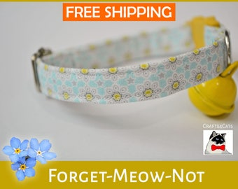 Fancy kitten collar 'Forget-Meow-Not' - Floral cat vintage style - cat collar breakaway - safety cat collar - cute cat collar - Halloween