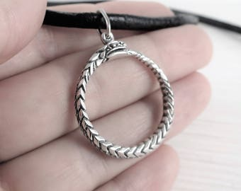 Ouroboros ring-pendant sterling silver