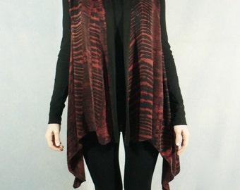 Shibori Dyed Sandwashed Rayon Asymetrical Vest/Tunic