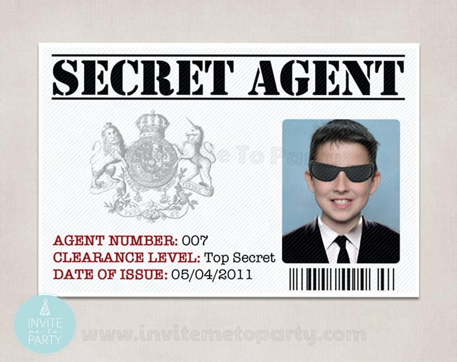 6 secret agent id detective id spy id for Spy id card template