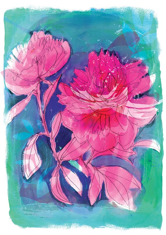 Peony Patterns Archival Wall Art Print botanical illustration