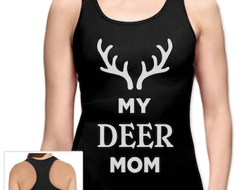 My Deer Mom Reindeer Antlers Christmas Racerback Tank Top