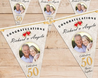 Personalised 50th Golden Wedding Anniversary PHOTO Flag Banner Bunting with ribbon N62 (10 Flags ) Hanging Decoration