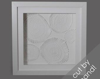 delicate texture - PAPER CUTTING - all white, depth, texture, Paper cut art, flowers, unique wall art, framed paper cut, white paper, layer