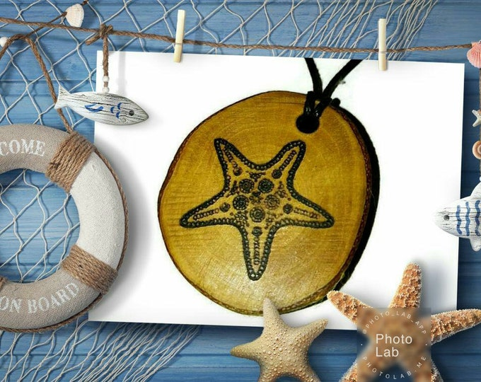 Bespoke Starfish sea Star Fish Necklace Wood Pendant Rustic Unique Wooden Charm Choker Jewellery Keyring Scented Gift