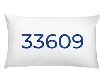 Rectangular 33609 Zip Code Pillow