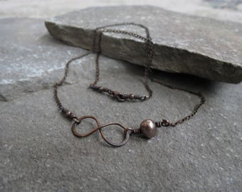Copper Infinity Necklace with Bronze Freshwater Pearl